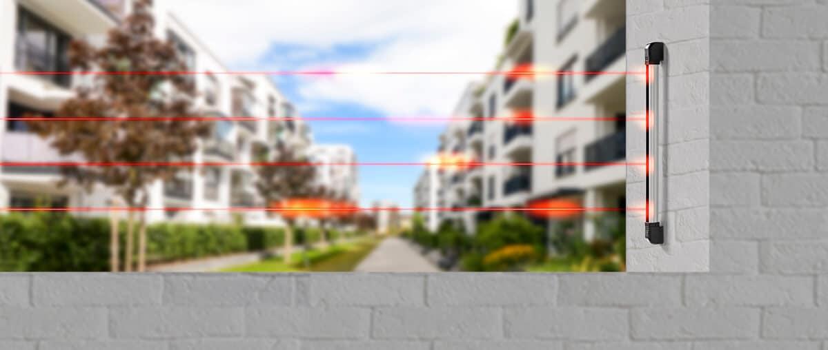 Sensores de alarme para a área externa do condomínio